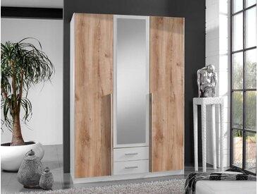 Drehtürenschrank 3-trg., Front und Korpus in weiß, Außentüren in Plankeneiche-Nachbildung, mittig 1 Spiegeltür, Maße: B/H/T ca. 135/197/58 cm