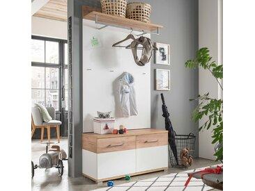 Garderobe in weiß mit Abs. in Navarra-Eiche-Nb., bestehend aus Garderobenpaneel und Schhbank, Gesamtmaß: B/H/T ca. 96/198/40 cm