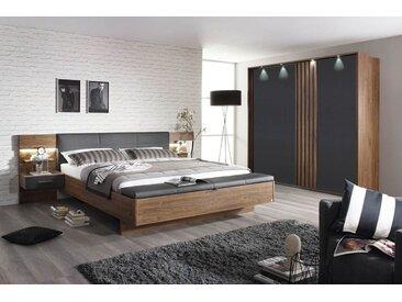 4-tlg. Schlafzimmer in Eiche Stirling mit Abs. grau, Schwebetürenschrank B: 226 cm, Bettanlage B: 285 cm mit 2 bel. Paneel-Nachtschränken, Polsterbank