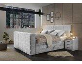 Boxspringbett in silbergrau, motorisierte TV-Halterung, Bettkästen, 7-Zonen Tonnentaschenfederkern-Matratzen und mit mit Kaltschaumtopper, 180x200 cm