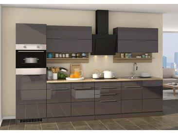 Küchenblock, grau Hochglanz, Stellmaß: ca. 320 cm, mit Elektrogeräten