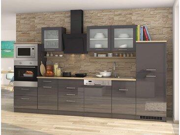 Küchenblock, grau Hochglanz, Stellmaß: ca. 340 cm, mit Elektrogeräten inkl. Geschirrspüler und Mikrowelle