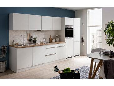 Küchenblock, weiß Matt, Stellmaß: ca. 360 cm, inkl. Elektrogeräten