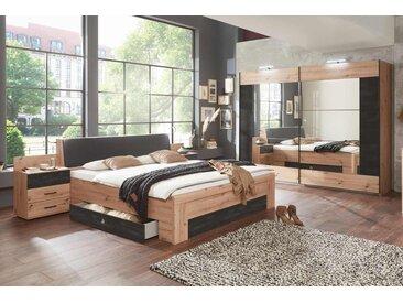 Schlafzimmer 4-tlg. Artisan-Eiche-Nachbildung, Schwebetürenschrank, Bettanlage inkl. Nachtschränke und Bettkasten