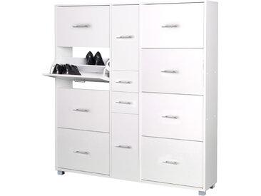 Schuhschrank in weiß mit 8 Klappen, 2 Türen, 2 Schubladen, Griffe, Auszüge und Beschläge aus Metall, Maße: B/H/T ca. 146,7/163,7/30 cm