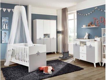 Babyzimmer, in weiß mit Absetzungen in hellgrau, 4-tlg., Kleiderschrank (B: 125 cm), Wickelkommode und Babybett 70 x 140 cm