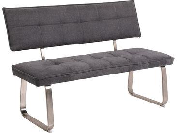 Sitzbank in grauem Webstoff bezogen, Bügelgestell aus Metall in Edelstahloptik gebürstet, Maße: B/H/T ca. 140/93/62 cm