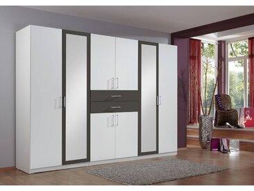 8-trg. Drehtürenkleiderschrank in Alpinweiß/graphit, 2 Spiegeltüren, Maße: B/H/T ca. 270/210/58 cm