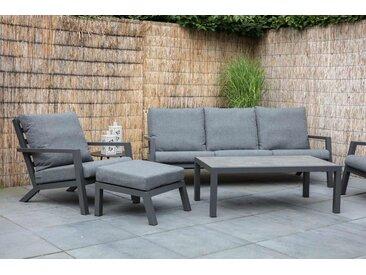 Premium-Lounge-Set mit Aluminiumgestell in anthrazit und Kissen in grau, 2 Loungestühle, Loungebank und Loungetisch mit Keramiktischplatte