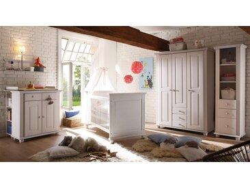 Babyzimmer 4-tlg. in weiß Wachs, massiv, Kleiderschrank B: 131 cm, Wickelkommode B: 96 cm,  Babybett Liegefläche 70 x 140 cm