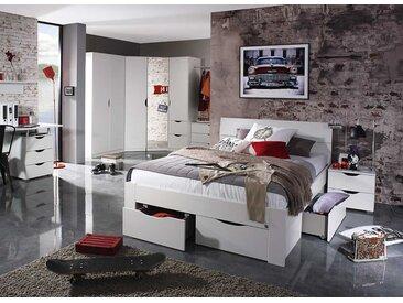 Jugendzimmer in alpinweiß, Drehtüren-Eckschrank, Bett 140 x 200 cm, Nachttisch