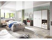 Jugendzimmer mit Korpus in Driftwood-Nachbildung und Fronten in, Kleiderschrank, Schreibtisch, Bett mit Liegefläche ca.140 x 200 cm und Nachtschrank