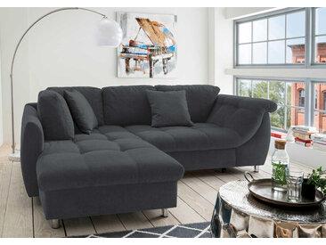 Ecksofa in schwarz, inkl. Schlaffunktion, Wellenunterfederung u. Komfortschaum, Maße: B/H/T ca. 250/84/190 cm