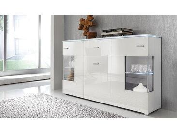 Sideboard, Front Hochglanz Weiß und Korpus Weiß, mit 2 Türen mit Glaseinsatz, 1 Holtztür und 1 Schubkasten, Maße: B/H/T ca. 150/91/37 cm