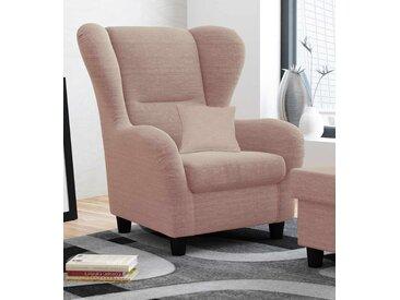Ohrensessel mit Zierkissen in altrosafarbenem Webstoff bezogen, Füße in schwarz, Polsterung aus Wellenfederung, Maße Sessel: B/H/T ca. 90/98/76 cm