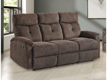 Sofa in brauner Microfaser bezogen mit Relaxfunktion, 3-Sitzer, Maße: B/H/T ca. 180/99/93 cm