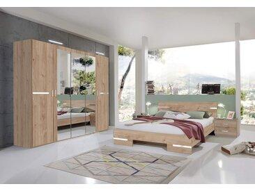Schlafzimmer 4-tlg. Artisan Eiche-Dekor mit Chrom-Aufleistungen, Schrank B: 225 cm, Futonbett 180 x 200 cm, 2 Nachtschränke B: 52 cm