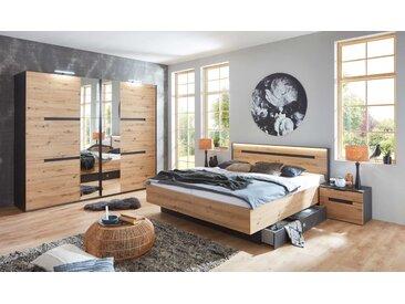 Schlafzimmer 4-tlg. in Artisan Eiche NB mit Abs. in graphit, bestehend aus Schwebetürenschrank B: 250 cm und Bett 180x200 cm inkl. Nachtschränke