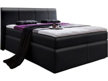 Boxspringbett in Kunstleder schwarz Liegefläche 140 x 200 cm, inkl. 7-Zonen-Tonnentaschen-Federkern-Matratze