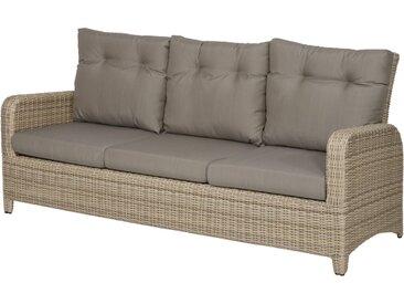 Loungebank aus halbrundem Geflecht in beige mit Alu-Gestell mit olefin Kissen in grau, Maße: B/H/T ca. 195/90/82 cm