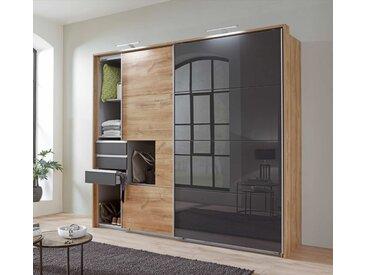 Schwebetürenschrank 2-trg. in Plankeneiche NB und grau, 5 Einlegeböden, 1 Kleiderstange und 3 Schubladen, Maße: B/H/T ca. 225/210/64 cm