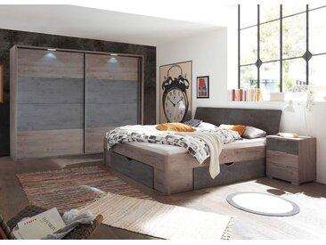 Schlafzimmer in Haveleiche NB mit Abs. in Beton Dekor, bestehend aus Schwebetürenschrank B: ca. 271 und Bettanlage inkl. 2 Nachtkonsolen B: ca. 275 cm