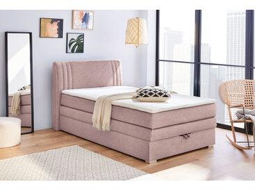 Boxspringbett in rosafarbenem Feinstrukturstoff, Bettkasten, Bonell-Federkern, PU-Schaum-Topper, 120 x 200 cm