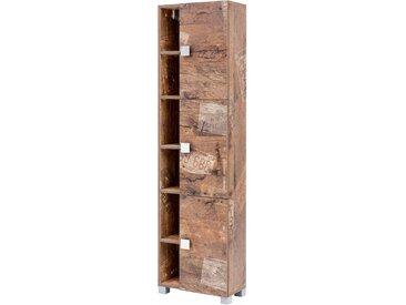 Hochschrank in Panamaeiche-Nachbildung mit 3 Türen, 3 Einlegeböden und 6 Regalfächern, Maße: B/H/T ca. 44,9/167,6/23,3 cm