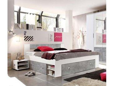 Kojenbett in weiß mit Absetzungen in Beton Dekor, 3 Schubladen, inkl. 2 Nachtkonsolen, Liegefäche 140 x 200 cm, Maße: B/H/T ca. 145/86/204 cm