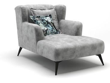 Longchair in hellgrauem Stoff bezogen, inkl. Rücken- und Zierkissen, Metallfüße schwarz, Maße: B/H/T ca. 1101/99/152 cm