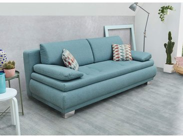 Schlafsofa in türkisfarbenem Feinstrukturstoff, Nosagunterfederung, Gästebett, je 2 Rücken-, Armlehn- und Zierkissen, Maße: B/H/T ca. 207/83/100 cm