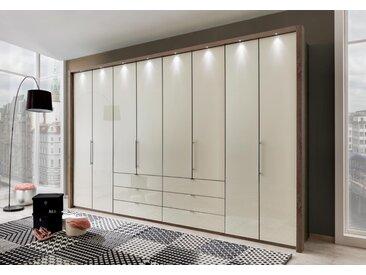 Kleiderschrank mit Gleittüren-Panorama-Funktion in Trüffeleiche-Nachbildung,Glasfront in magnolie,8 Türen und 6 Auszügen, Maße: B/H/T ca.400/216/58 cm