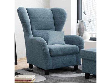 Ohrensessel mit Zierkissen in blauem Webstoff bezogen, Füße in schwarz, Polsterung aus Wellenfederung, Maße Sessel: B/H/T ca. 90/98/76 cm