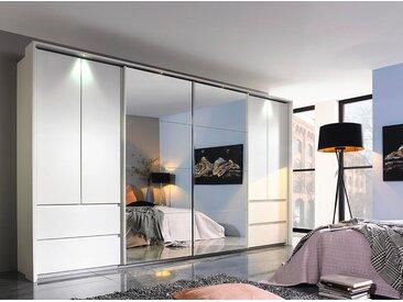 Kombi-Schwebetürenschrank 6-trg. in alpinweiß mit 2 Schwebe-Spiegeltüren, 4 Drehtüren, 4 Schubkästen, Maße: B/H/T ca. 361/210/62 cm