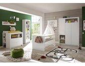 Babyzimmer 4-tlg. in weiß, Drehtürenschrank, Bett mit Liegefläche 70x140 cm und Kommode mit Wickelaufsatz