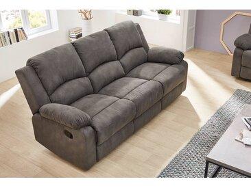 3er Sofa in anthrzaitfarbenem Stoff bezogen mit Liegefunktion, Maße: B/H/T ca. 204/97/87 cm