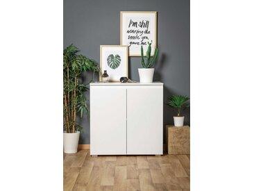 Kommode in weiß matt, Sideboard, Highboard, Anrichte, Schrank, Flurkommode, Maße: B/H/T ca. 80/80/40 cm