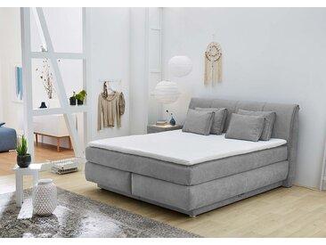 Boxspringbett in grau, mit Bettkasten, 7-Zonen-TTF-Matratzen hart, inkl. Kaltschaum-Topper und Kissen, Liegefläche:180 x 200 cm