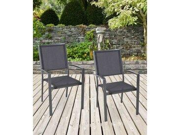 Gartenstühle mit Textylenbezug in anthrazit und einem Gestell aus Aluminium in anthrazit, 2er-Set, Maße: B/H/T ca. 55,5/94/64,5 cm