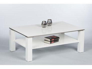 Couchtisch in Hochglanz weiß, Tischkante mit alufarbigen Absetzungen, mit Ablageboden, Maße: B/H/T ca. 110/41/70 cm