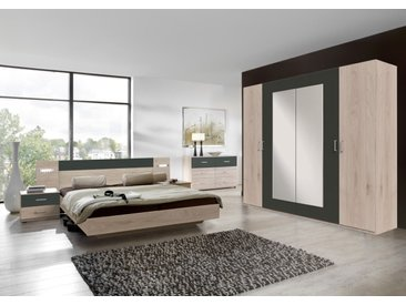Schlafzimmer 4-tlg. in Hickory-Oak-NB mit Abs. in graphit, bestehend aus Drehtürenschrank B: 225 cm, Bett 180x200 cm und. Nachtschränke B:52 cm
