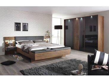 4-tlg. Schlafzimmer in Eiche Stirling mit basalt Glas, Schwebetürenschrank B: 271 cm, Bettanlage B: 285 cm mit 2 bel. Paneel-Nachttischen, Polsterbank
