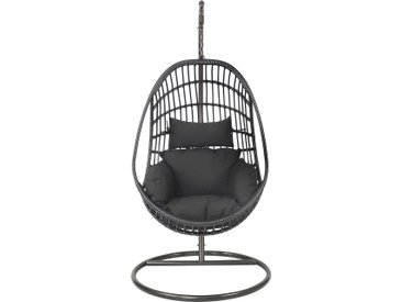 Hängesessel inkl. Stahlgestell in schwarz, Geflecht schwarz, inkl. Kissen, Maße Sessel: B/H/T ca. 93/122/70 cm, Gesamthöhe ca. 203 cm