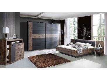 Schlafzimmer in Schlammeiche-/ und Schwarzeiche-Nachb. , Schwebetürenschrank B: 269 cm, Bettanlage inkl. Beleuchtung mit Nachtschränken: 304 cm