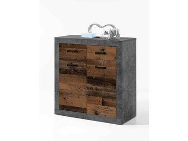 Kommode mit Front in Old Wood Nachbildung und Korpus in Betonoxid Dekor, Maße: B/H/T ca. 82/90/37 cm