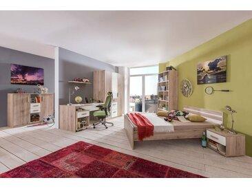 3-tlg. Jugendzimmer in alpinweiß und Sanremo Eiche Nachbildung mit Kleiderschrank (B. ca. 135 cm), Bett (90x200 cm) und Schreibtisch (B: ca. 140 cm)