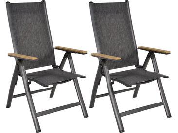Gartenstühle 2er Set aus Aluminium mit Textylenbezug in anthrazit und Abs. in Teakholz-Optik, Rückenlehne verstellbar, Maße: B/H/T ca. 57/103/69 cm