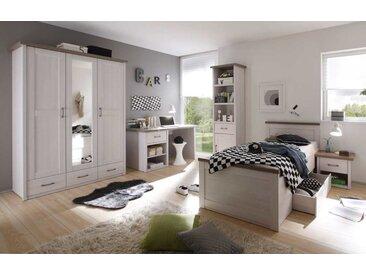 Jugendzimmer in Pinie weiß NB mit Abs. in Trüffel NB, 3-trg., Kleiderschrank (B: 148 cm), Bett 90x200 cm, Nachtkommode, Schreibtisch (B:141 cm)