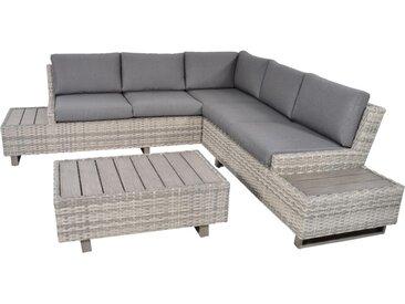 3-teiliges Premium-Lounge-Set aus grauem Polyrattangeflecht mit 1 Tisch und 2 Sofa, inkl. Kissen