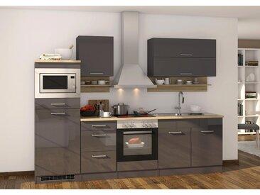 Küchenblock, grau Hochglanz, Stellmaß: ca. 270 cm, mit Elektrogeräten inkl. Mikrowelle